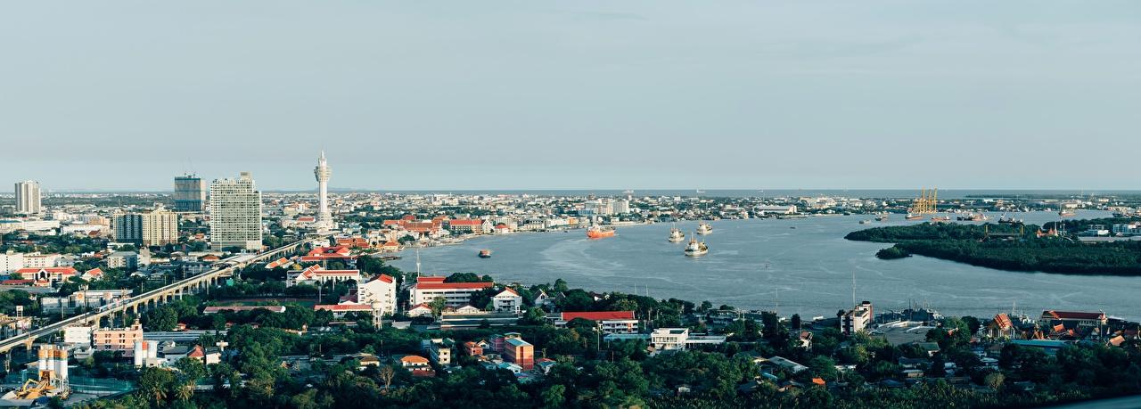 Картинки Бангкок Таиланд панорамная Корабли Реки город Панорама корабль река речка Города
