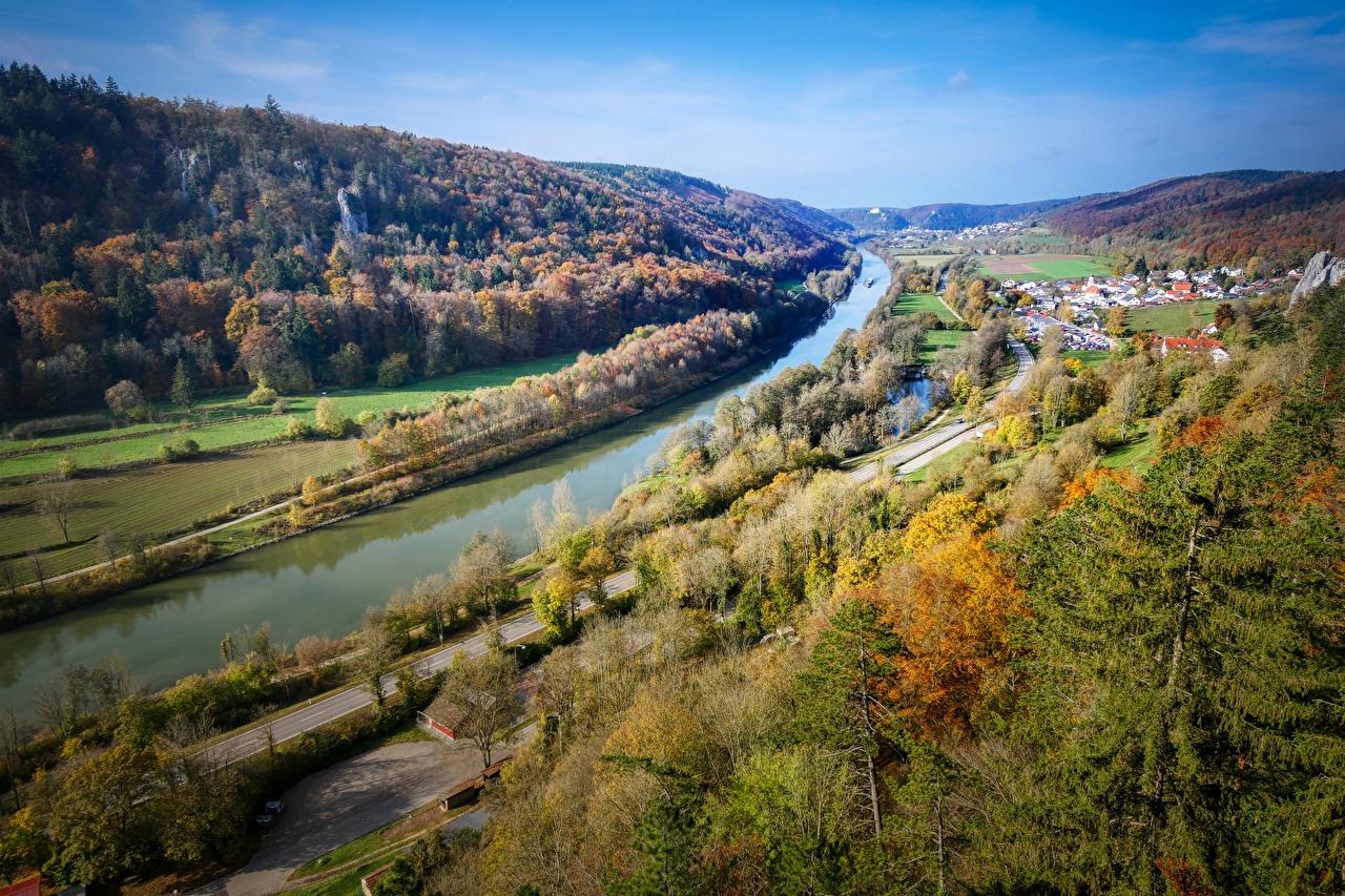 Фотография Бавария Германия Main-Danube Canal Осень Природа Водный канал лес холм осенние Леса Холмы холмов
