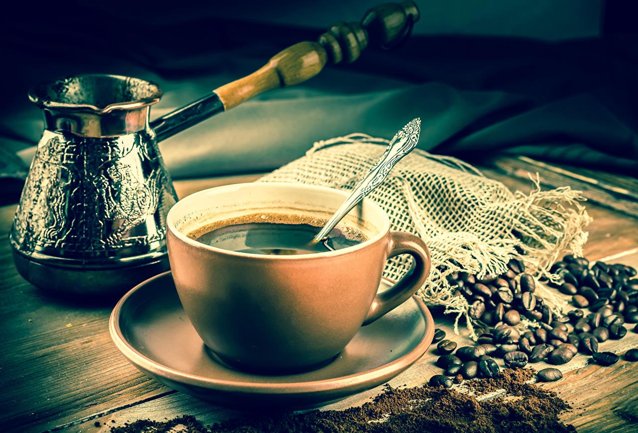 Обои для рабочего стола Кофе Турка Зерна Пища Ложка Чашка блюдца зерно Еда чашке ложки Блюдце Продукты питания
