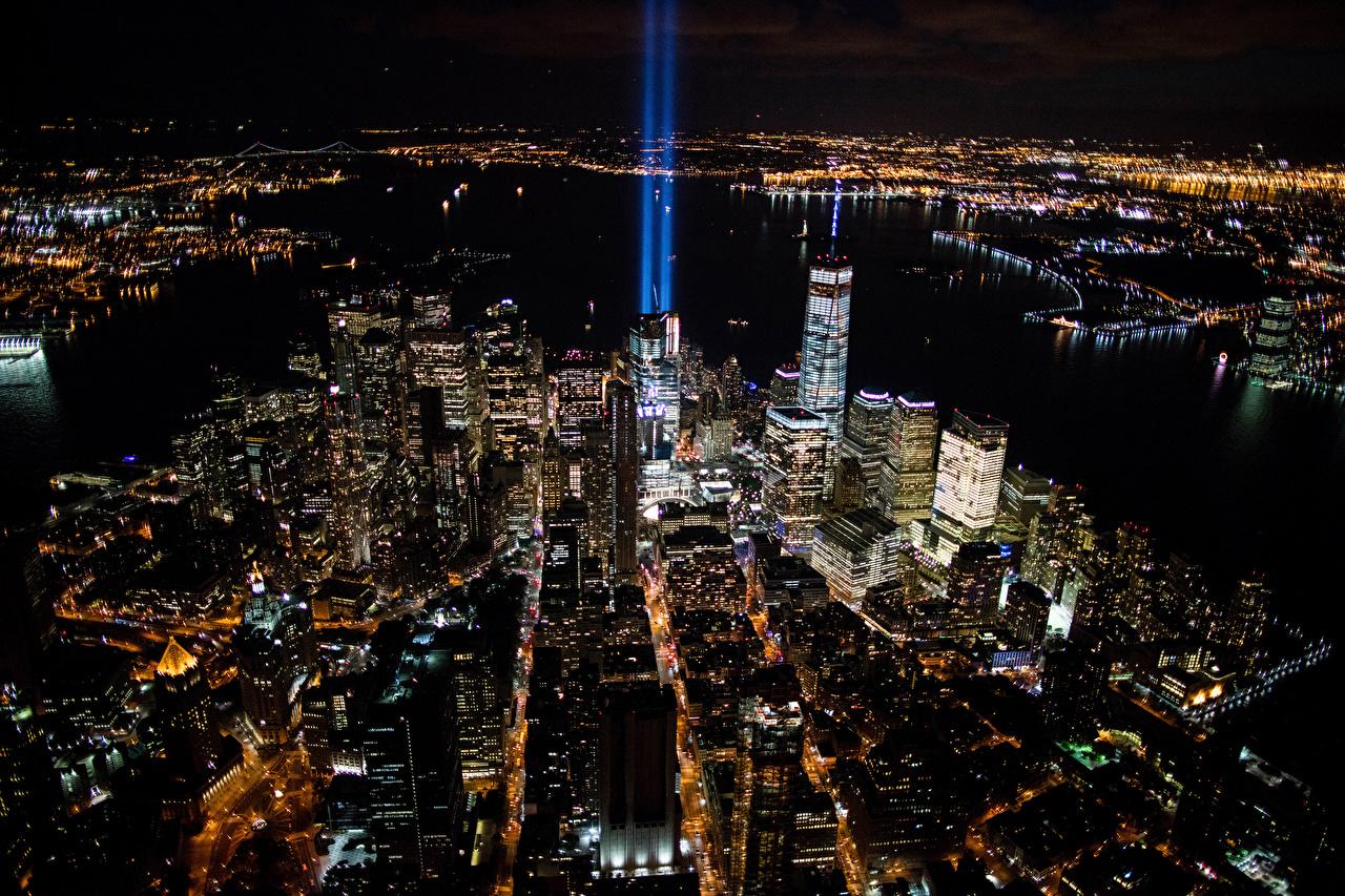 Фотография Нью-Йорк штаты Мегаполис Сверху Ночные Дома Города США Ночь Здания