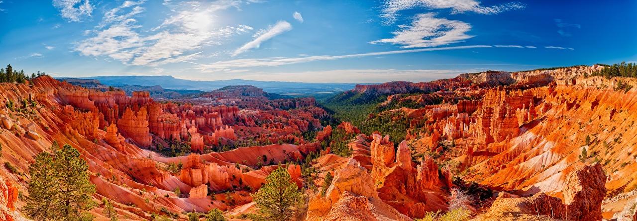 Обои для рабочего стола США Bryce Canyon National Park Утес Природа Небо Парки Пейзаж штаты америка скалы скале Скала парк