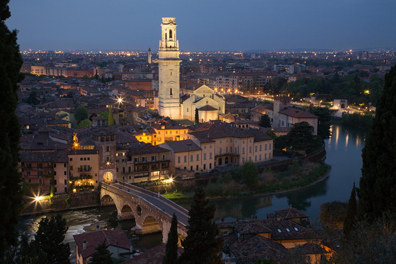 Фото Верона Италия Мосты Реки Вечер Дома Города речка Здания