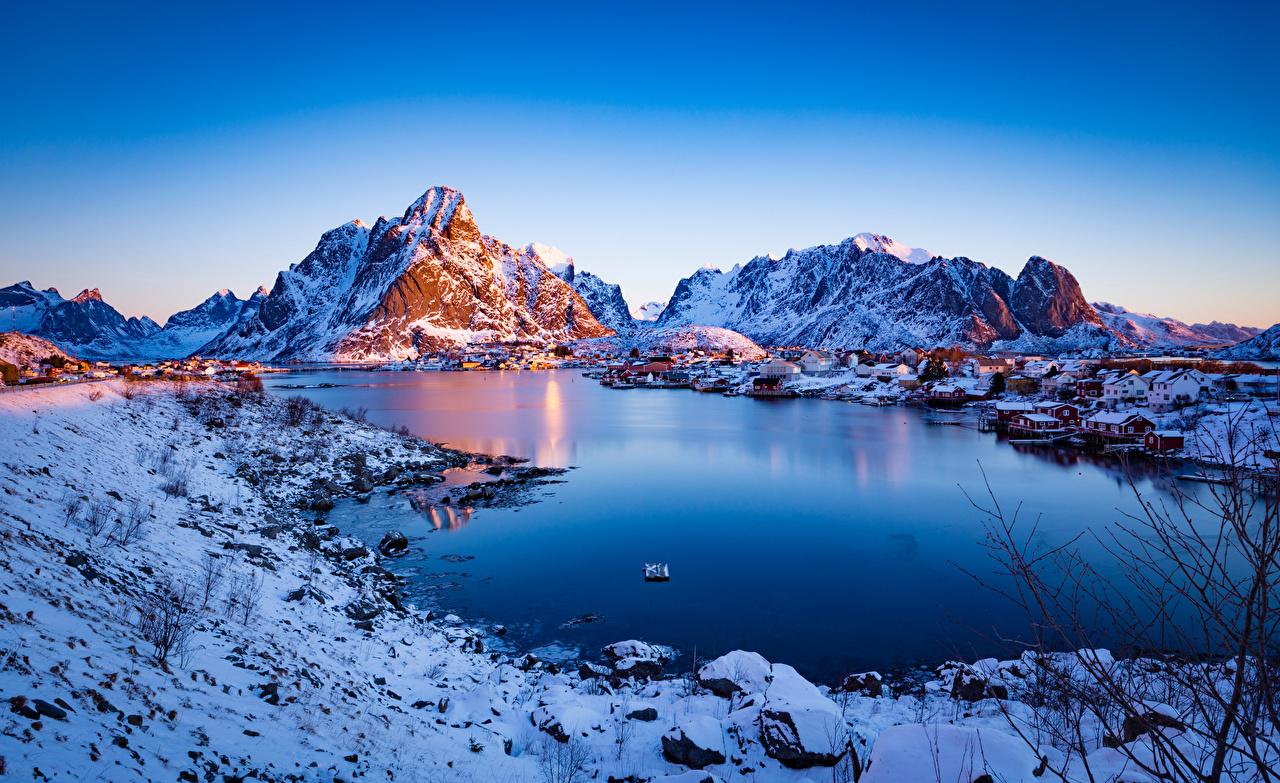 Фотография Лофотенские острова Норвегия Reine Горы Природа Утро гора