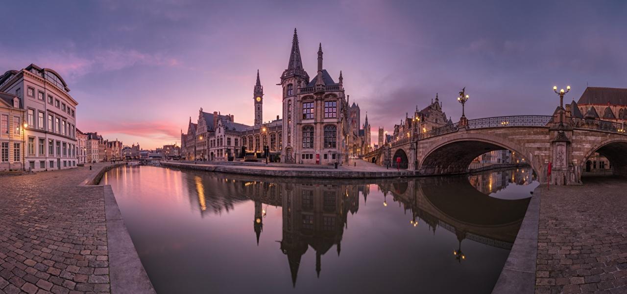 Фото Гент Бельгия Leie River, Graslei Quay, Sergey Aleschenko мост Водный канал Реки Города Здания Мосты река речка Дома город