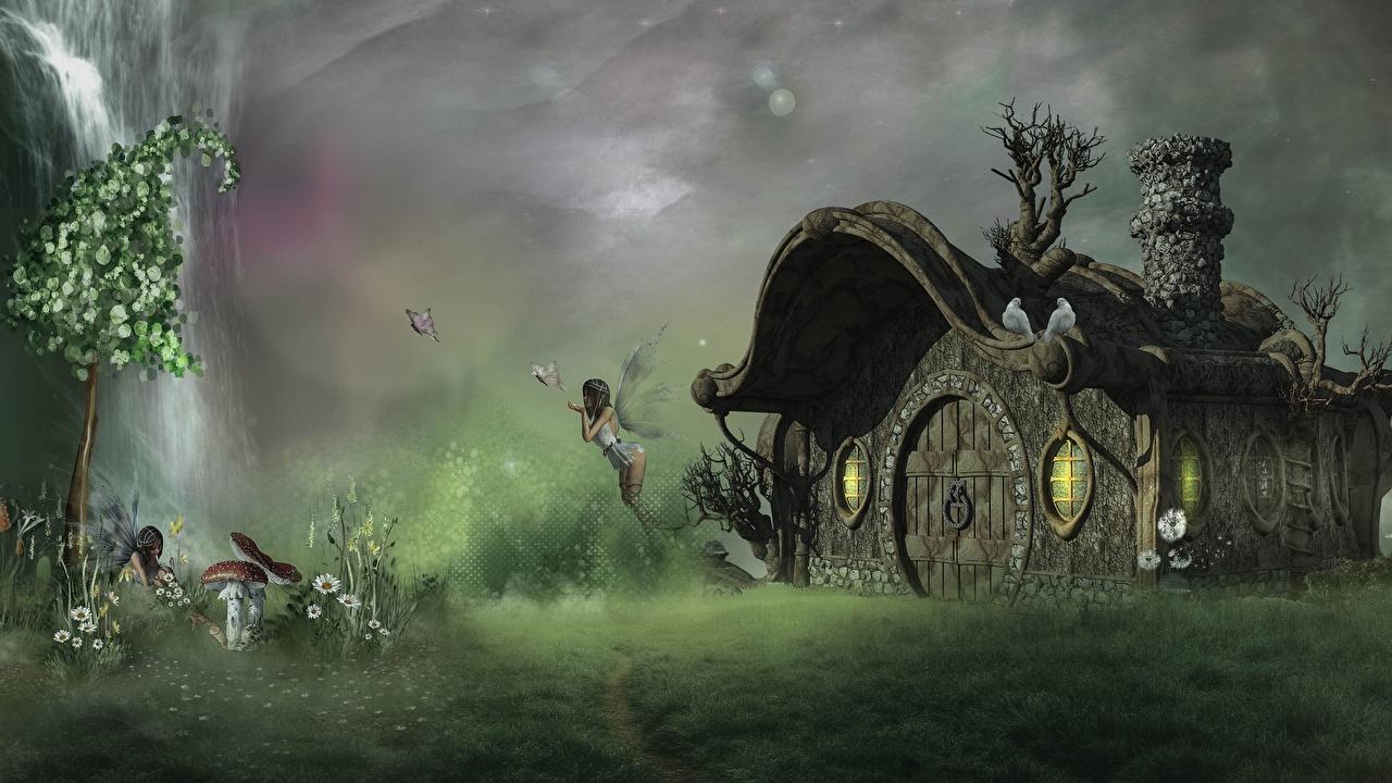 Фото Феи бабочка 3д Мухомор Фэнтези Дома Бабочки 3D Графика Фантастика Здания