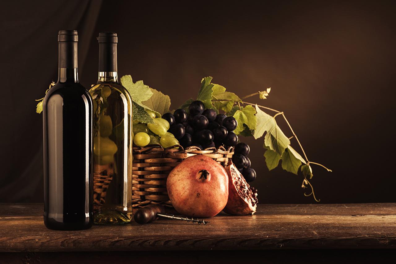 Картинка Вино Гранат Виноград Пища бутылки Натюрморт Еда Бутылка Продукты питания
