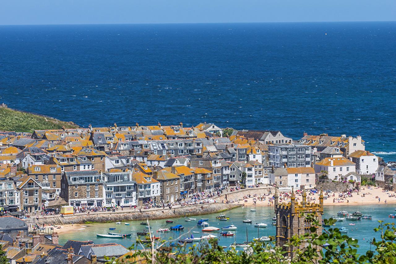 Картинки Англия Великобритания Cornwall берег залива Пристань Дома Города Залив Пирсы заливы Причалы Побережье город Здания