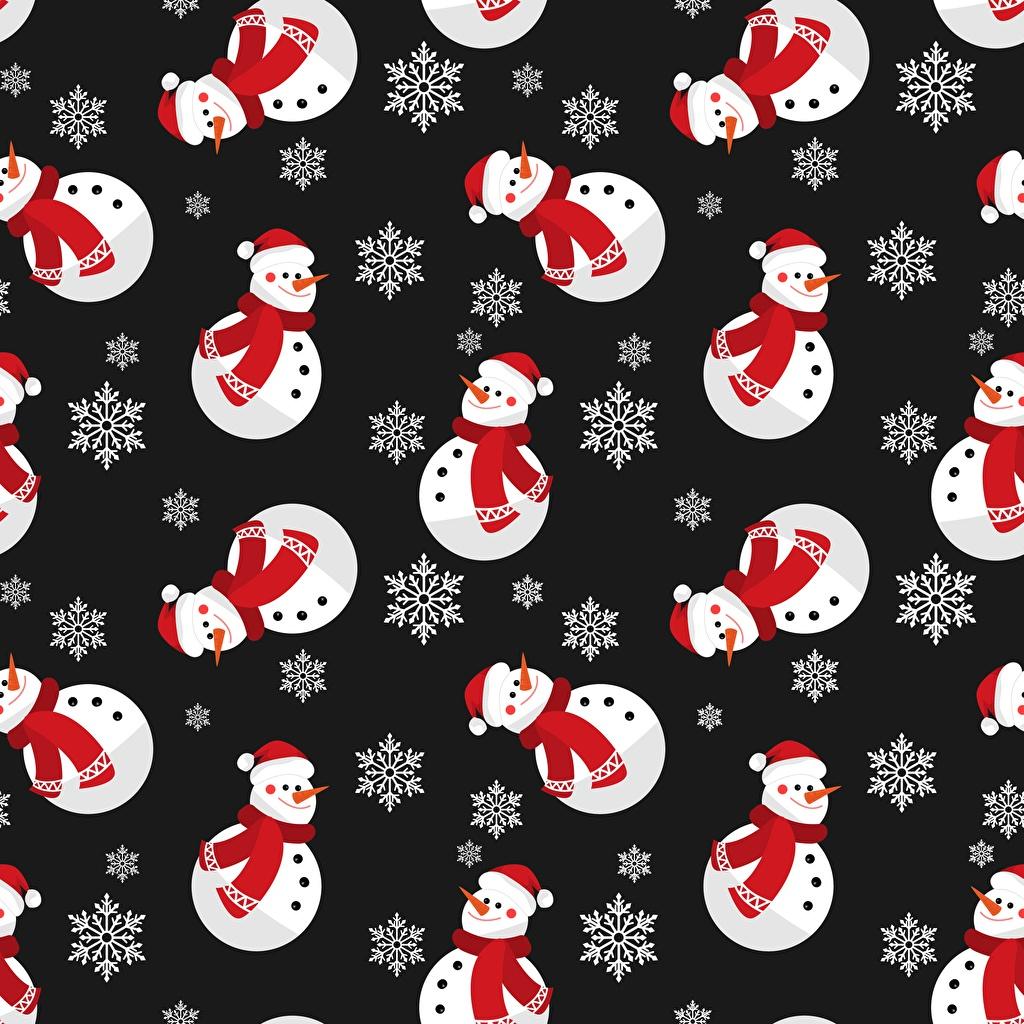 Фотография Текстура Новый год Снежинки Снеговики Черный фон Рождество снежинка снеговик снеговика на черном фоне