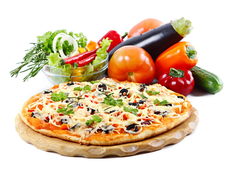 Обои для рабочего стола Пицца Томаты Быстрое питание Еда Овощи Перец Помидоры Фастфуд Пища перец овощной Продукты питания