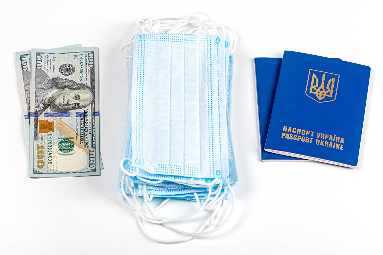 Фото Доллары Коронавирус Украина Маски Деньги белом фоне Белый фон белым фоном