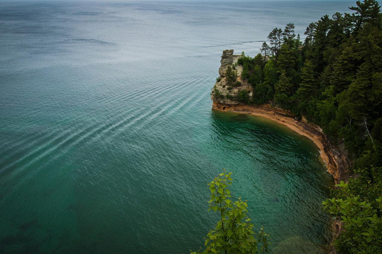Фотография США Pictured Rocks National Lakeshore скале Природа Леса берег штаты америка Утес Скала скалы лес Побережье