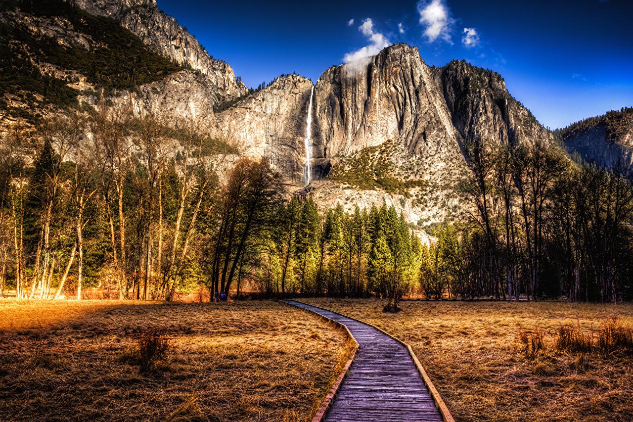 Фотографии Йосемити калифорнии штаты HDR Горы Природа осенние Парки Пейзаж деревьев Калифорния США америка HDRI гора Осень парк дерево дерева Деревья