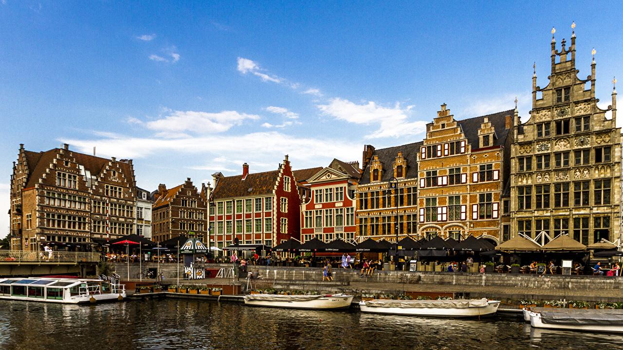 Фотография Гент Бельгия Водный канал Пристань город Здания Пирсы Причалы Дома Города