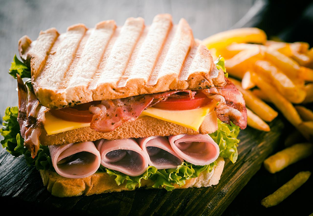 Фотографии Бекон Сэндвич Хлеб Еда Овощи Мясные продукты Пища Продукты питания