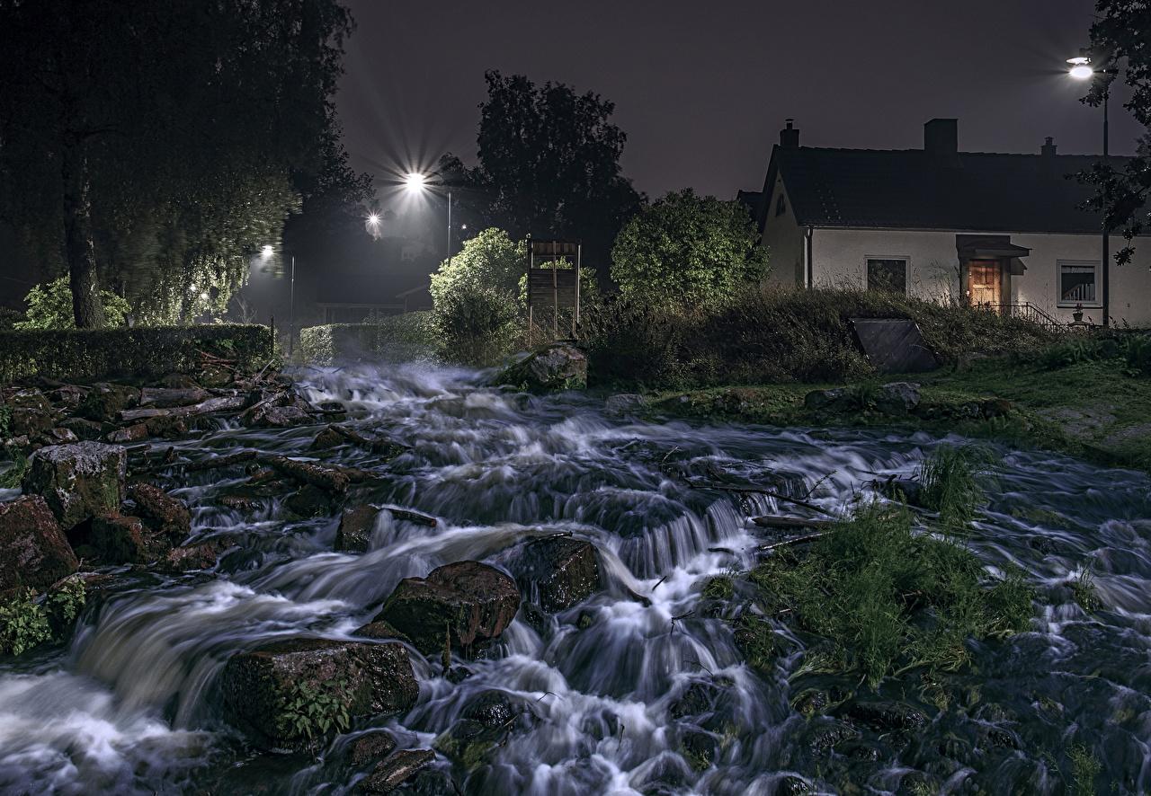 Картинки Швеция HDRI Природа Водопады Мох Реки Камни Ночные Здания HDR Ночь речка Камень Дома