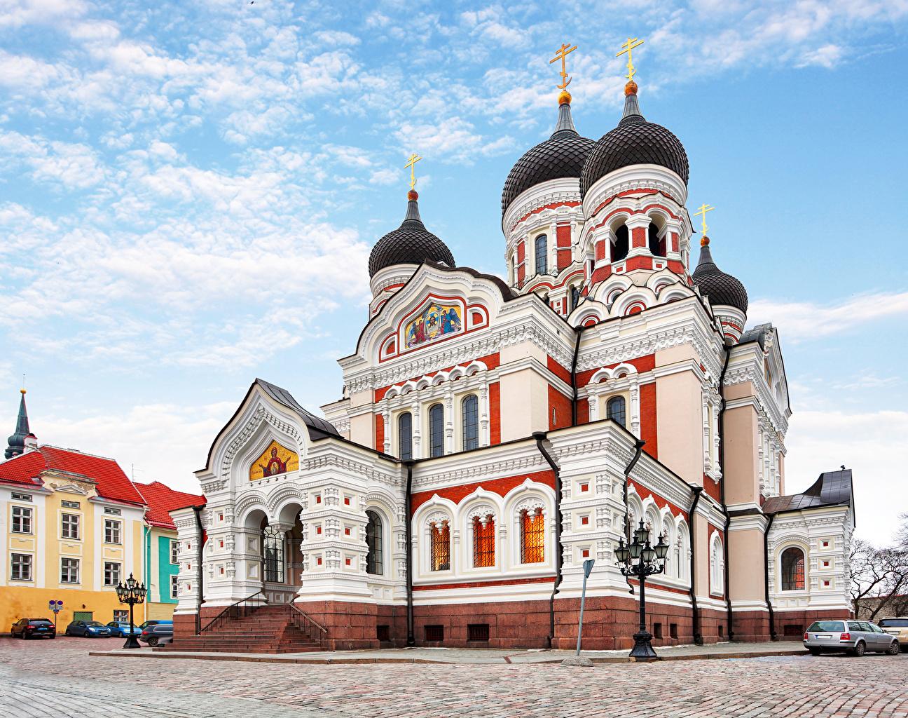 Фото Таллин Собор Эстония Alexander Nevsky Cathedral Храмы Города Дизайн