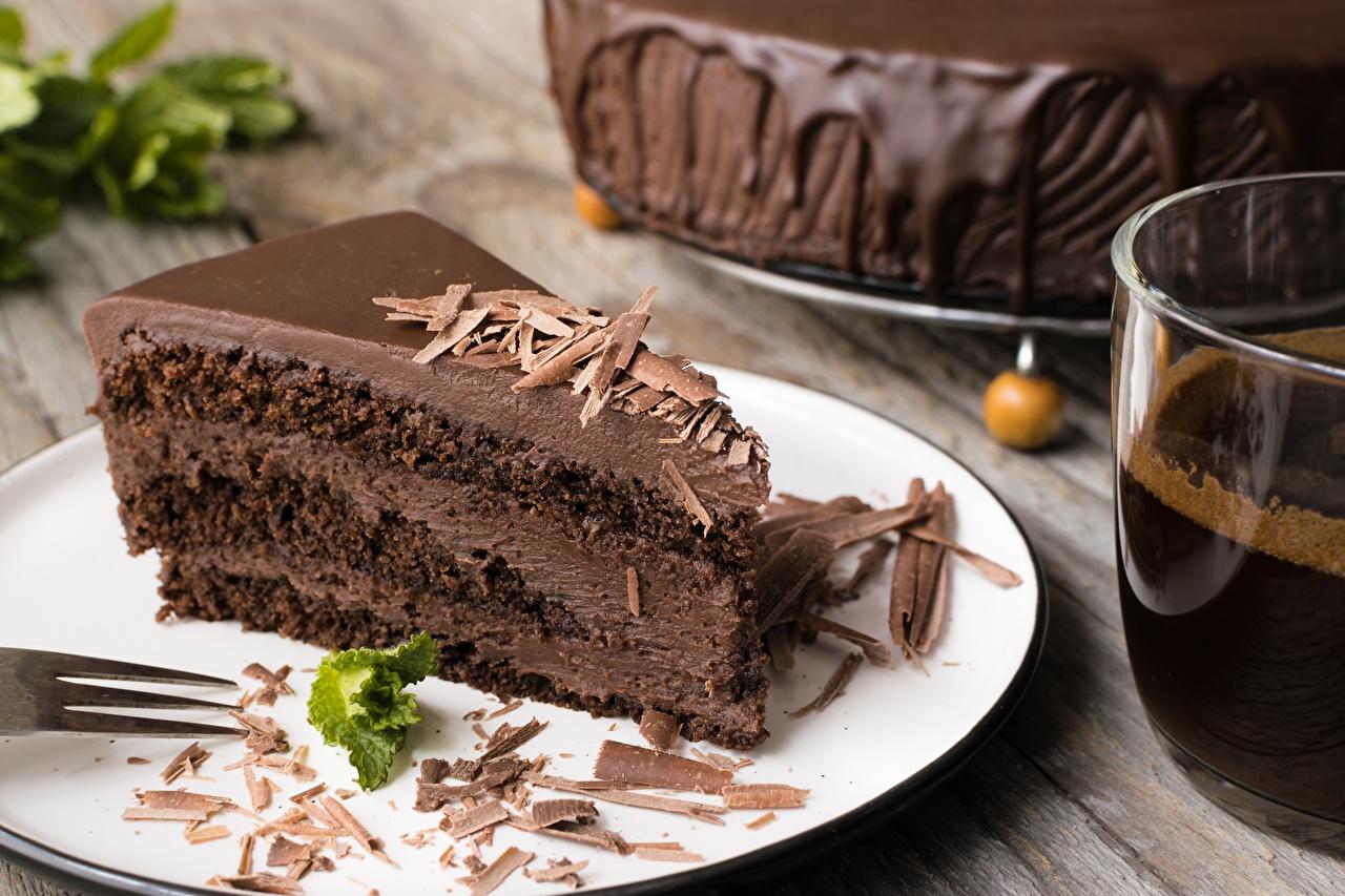 Фотография Шоколад Торты Кусок Продукты питания часть Еда Пища