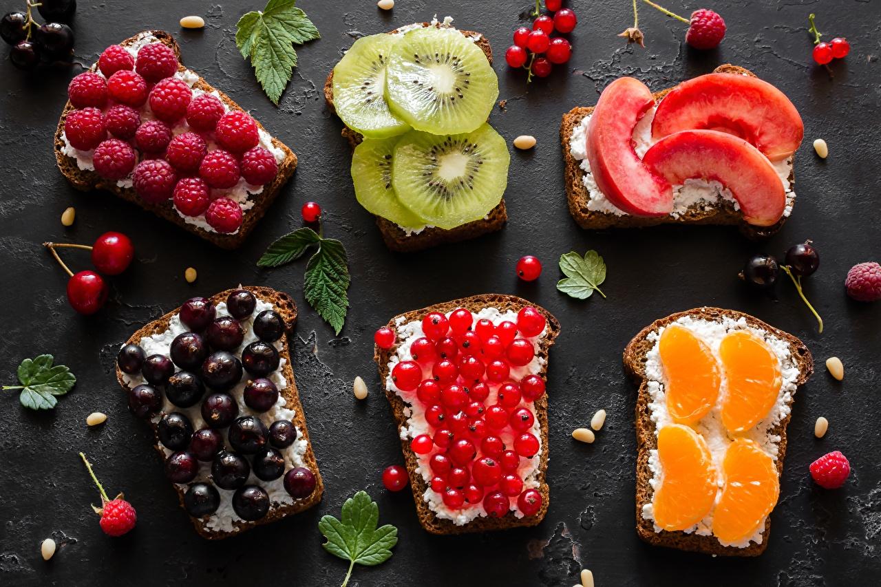 Картинки Апельсин Киви Хлеб Малина Персики Смородина Бутерброды Еда бутерброд Пища Продукты питания