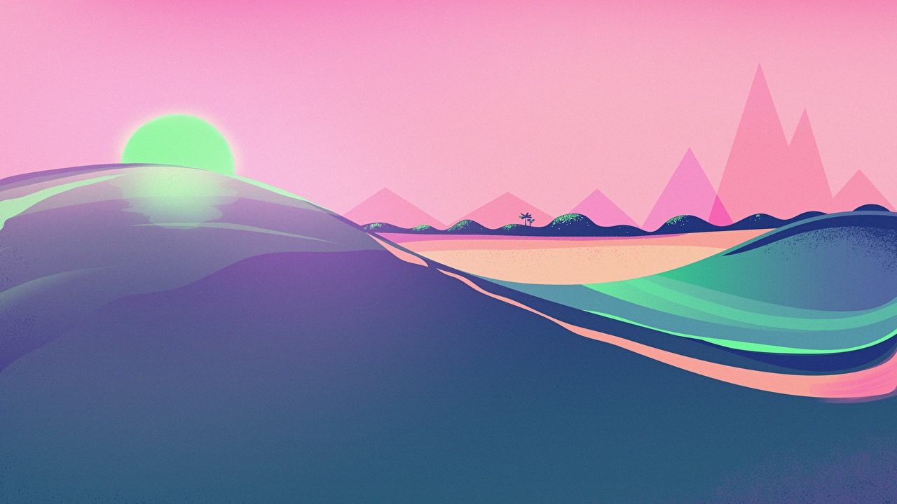Картинки Ретровейв солнца Природа пустыня Рассветы и закаты Синтвейв Солнце Пустыни рассвет и закат