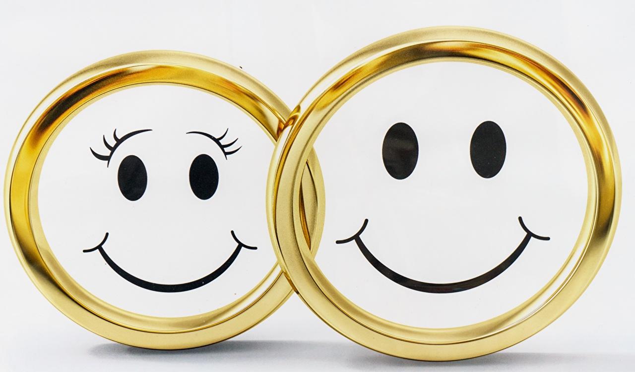 Обои Смайлы Улыбка 2 Золотой Кольцо смайлики Двое вдвоем