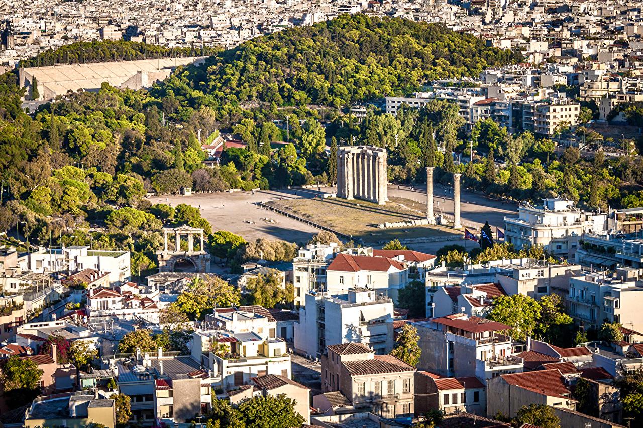 Картинка Греция Athens Сверху Здания Города Дома город