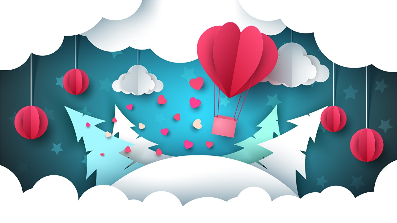 Фотография Оригами аэростат ели Облака Воздушный шар Ель облако облачно