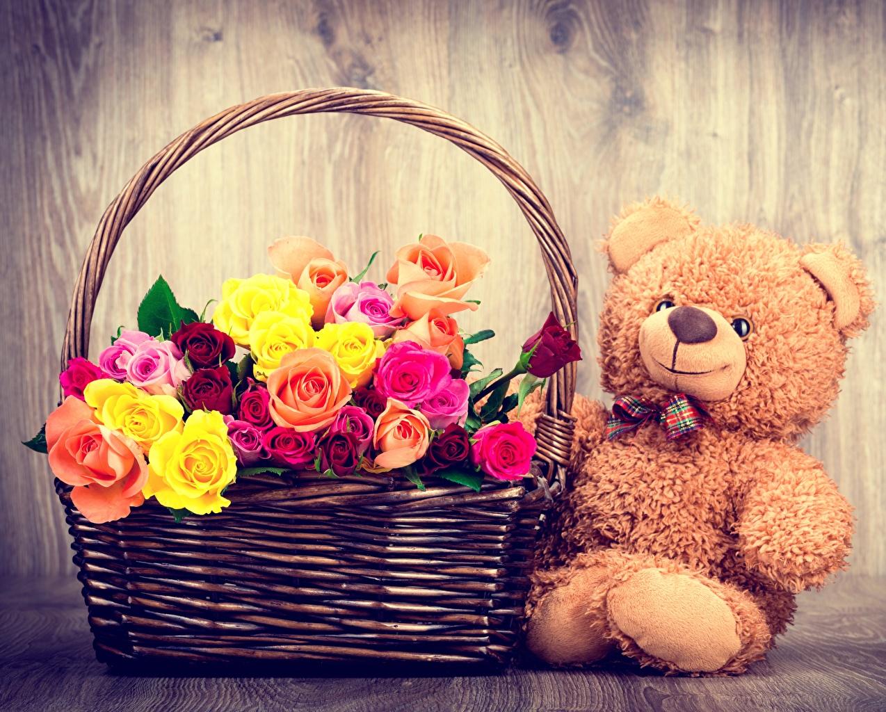 Фото Розы Цветы Корзина Плюшевый мишка Мишки корзины Корзинка