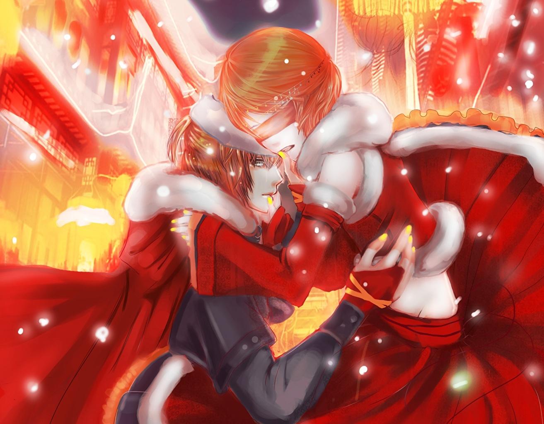 Фотография Влюбленные пары парень две Аниме обнимаются молодые женщины любовники юноша Парни подросток 2 два Двое вдвоем Объятие девушка Девушки обнимает молодая женщина