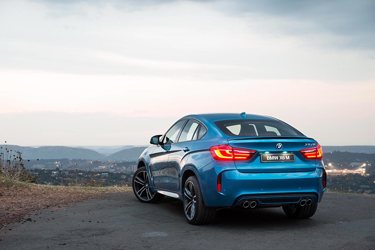Картинки БМВ 2015 X6 M ZA-spec F16 голубые Небо Сзади Автомобили BMW голубая Голубой голубых авто машины машина вид сзади автомобиль