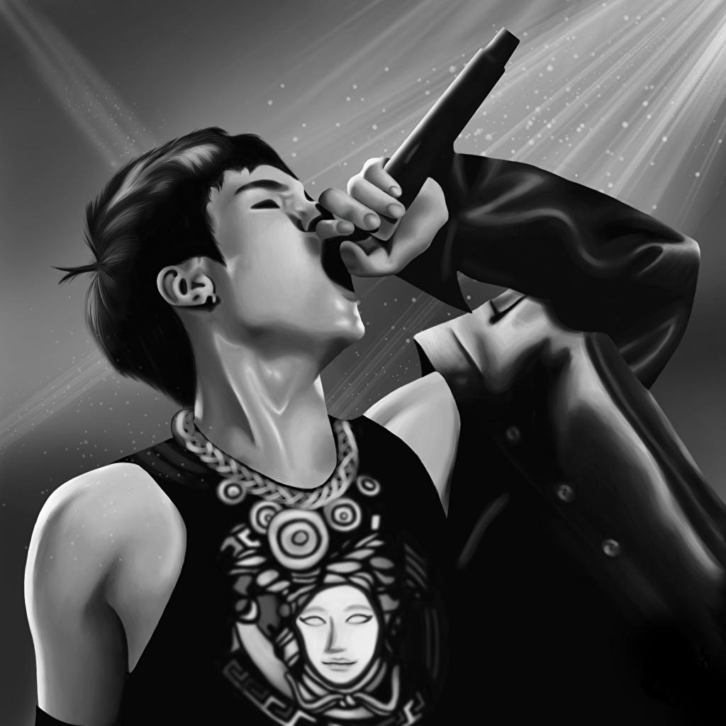 Фото Юноша Микрофон Min Yoongi Музыка Азиаты Черно белое Парни