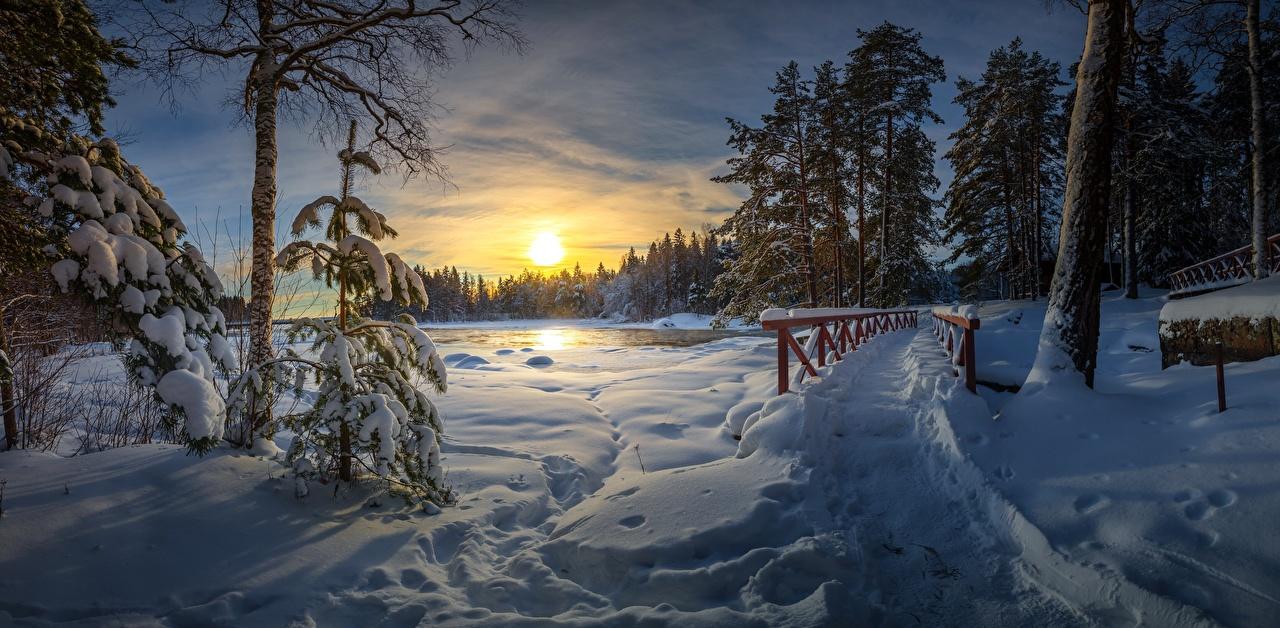 Картинки Зима Тропа Мосты Природа Снег Рассветы и закаты Деревья зимние тропинка