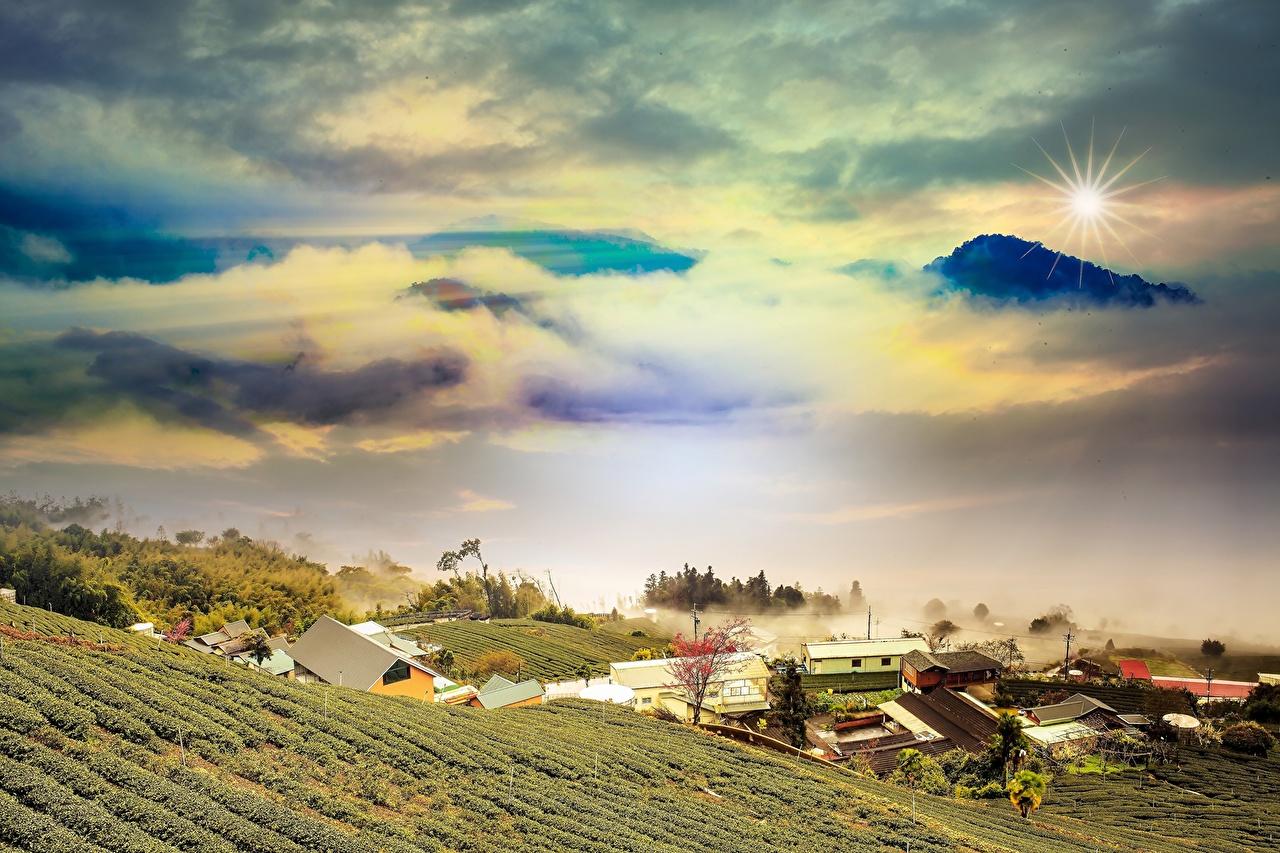 Фотографии гора Природа Поля Пейзаж облако Горы Облака облачно