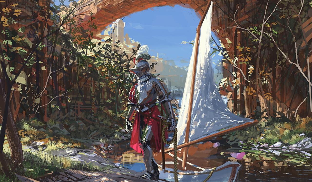 Картинка Рыцарь Доспехи Средневековье Фантастика Лодки броня Фэнтези