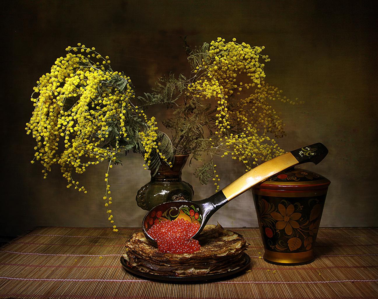 Картинка Блины Икра Цветы Мимозы Еда Натюрморт Пища Продукты питания