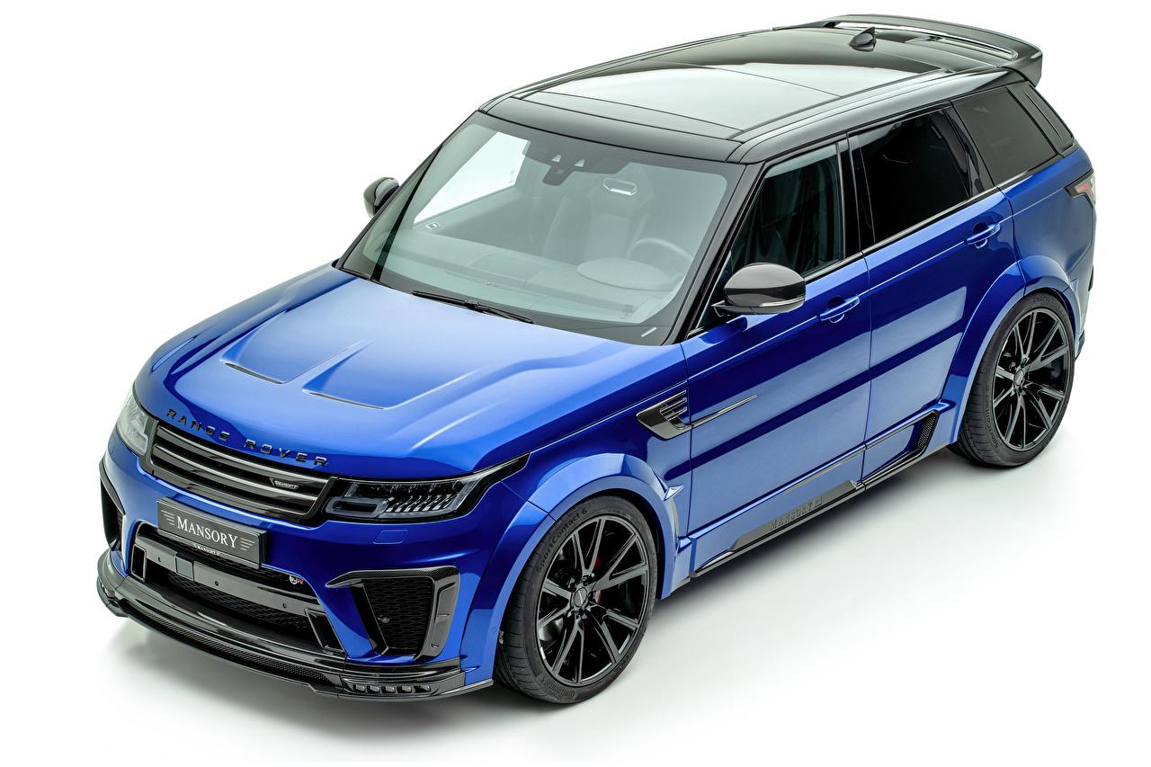 Фото Land Rover Кроссовер 2019-20 Mansory Range Rover Sport SVR синих машины Металлик белом фоне CUV синяя синие Синий авто машина Автомобили автомобиль Белый фон белым фоном