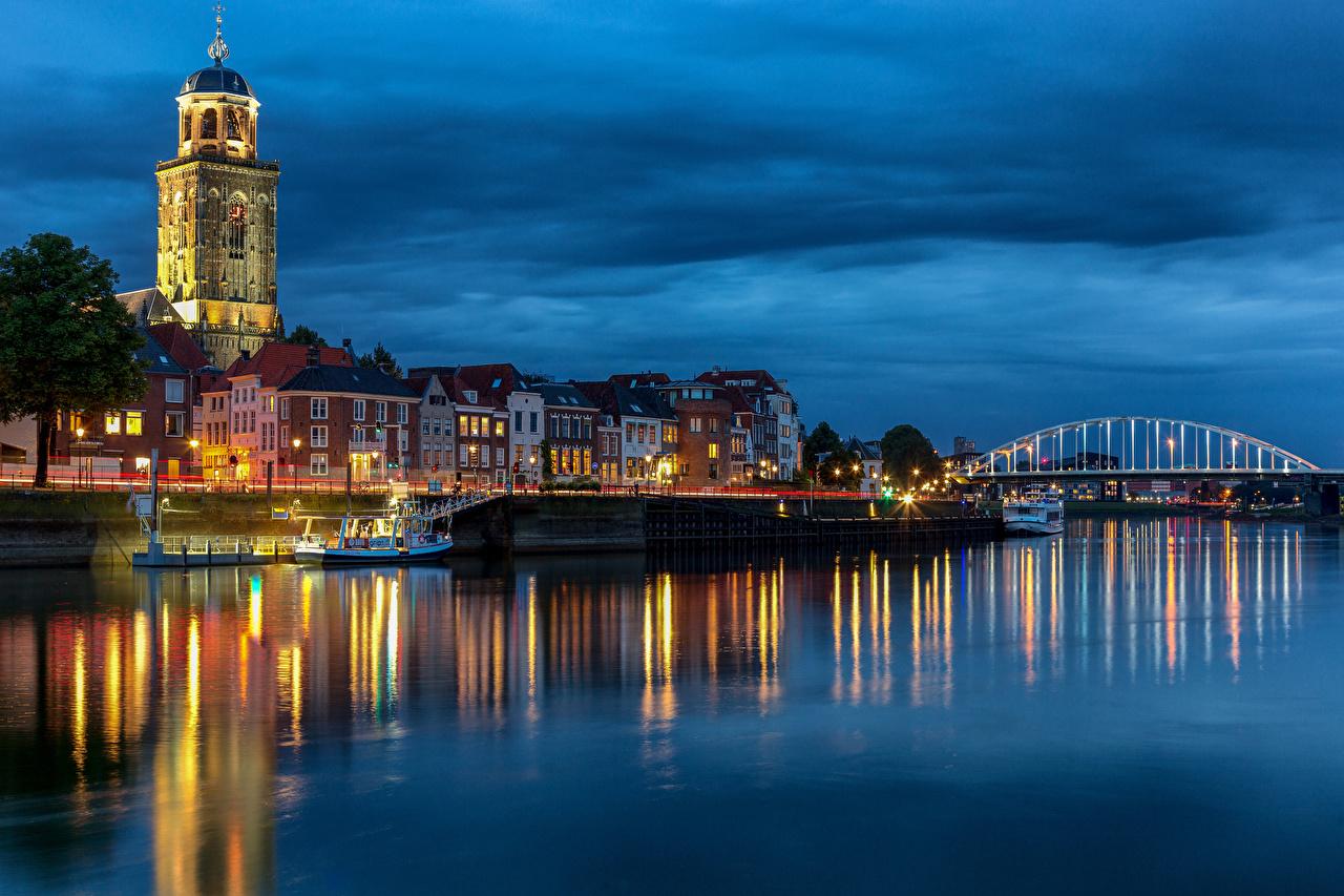 Фотография голландия Башня Deventer мост Речные суда Реки Вечер Дома Города Нидерланды башни Мосты река речка город Здания