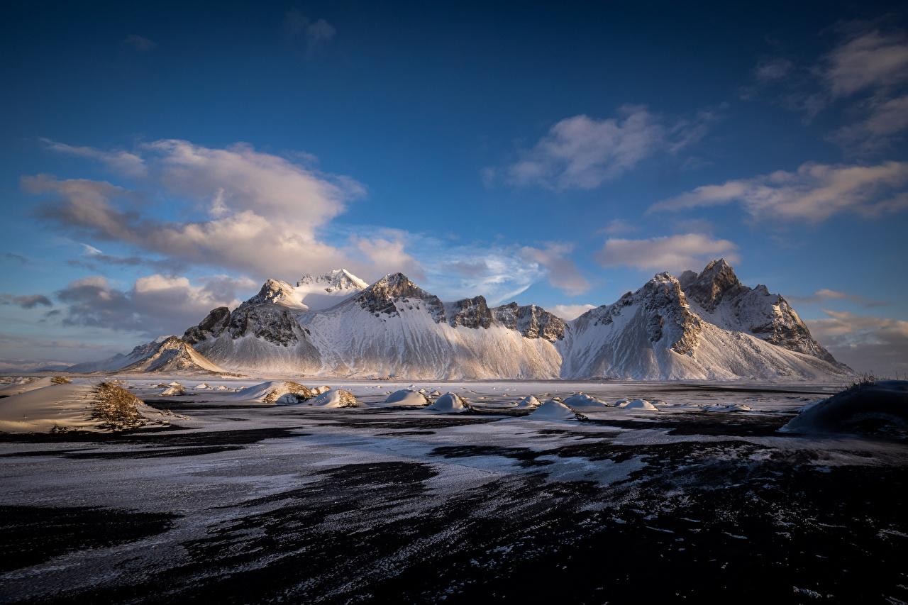 Фото Исландия Hofn, Vestrahorn Горы Природа облако гора Облака облачно