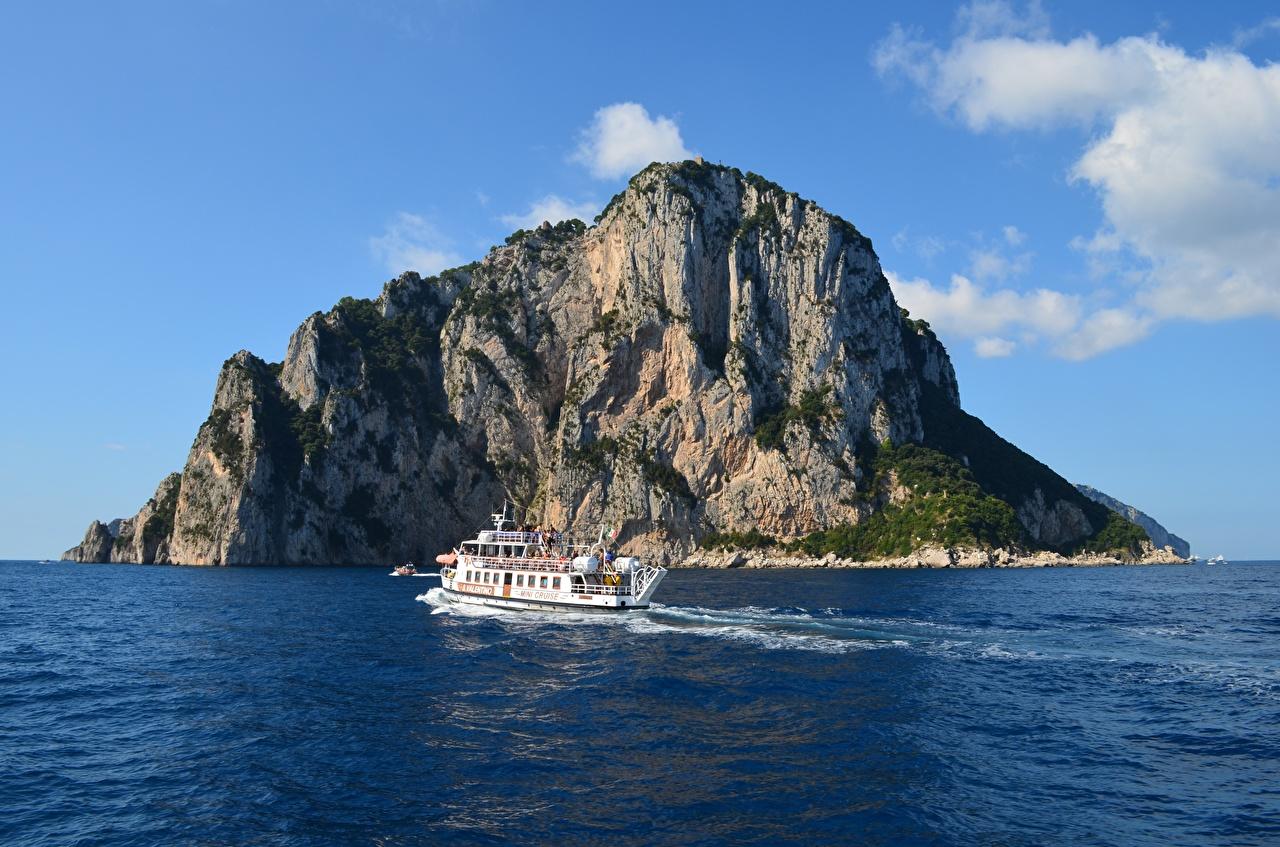 Фотографии Италия Insel Capri Море Утес Природа Остров Речные суда Скала скале скалы