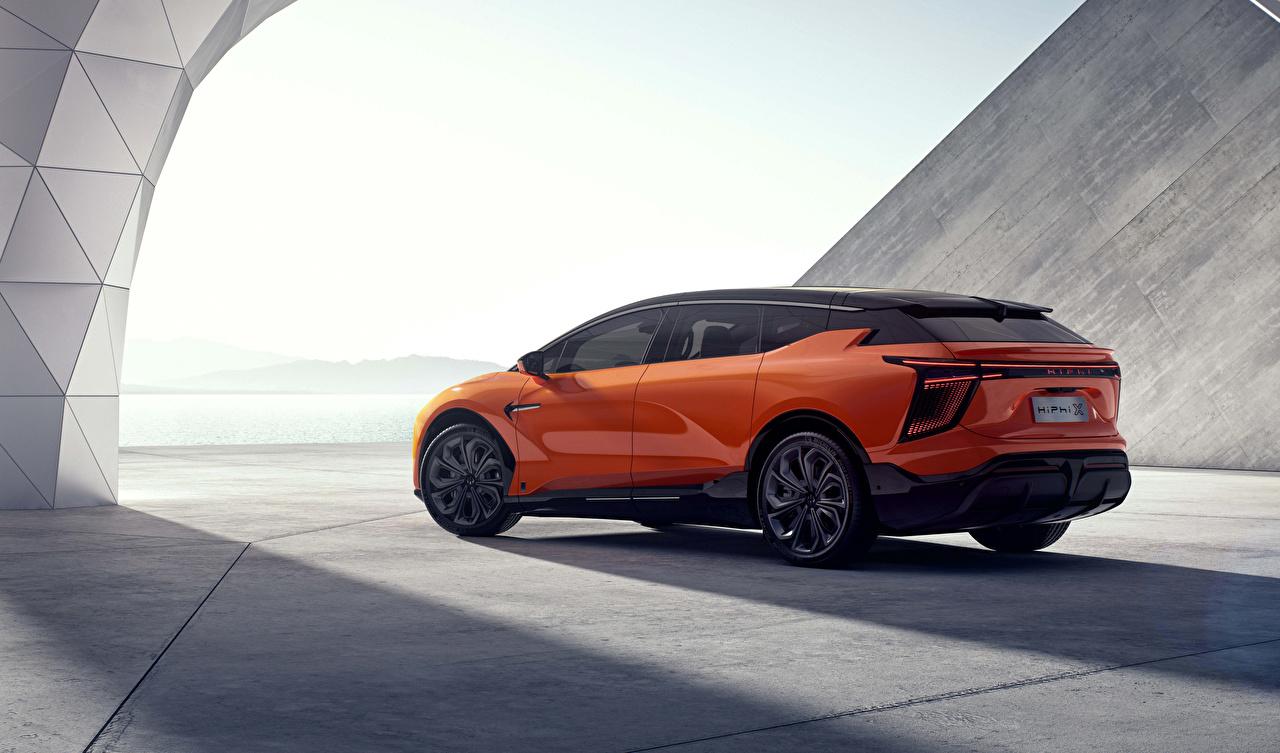 Картинка Китайские Кроссовер HiPhi X, 2020 оранжевых машина Металлик китайский китайская CUV оранжевая оранжевые Оранжевый авто машины Автомобили автомобиль