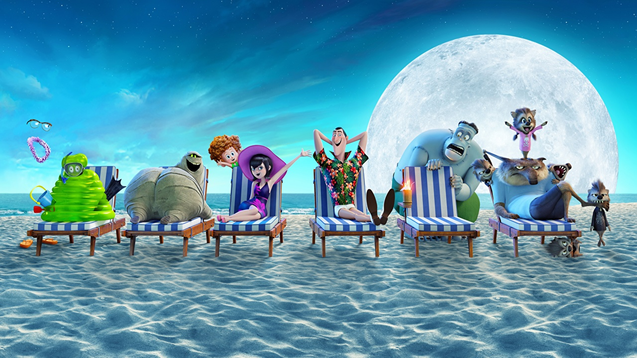 Обои для рабочего стола Монстры Hotel Transylvania 3 Summer Vacation пляжи Мультики Шезлонг монстр чудовище Пляж пляже пляжа мультик Мультфильмы Лежаки