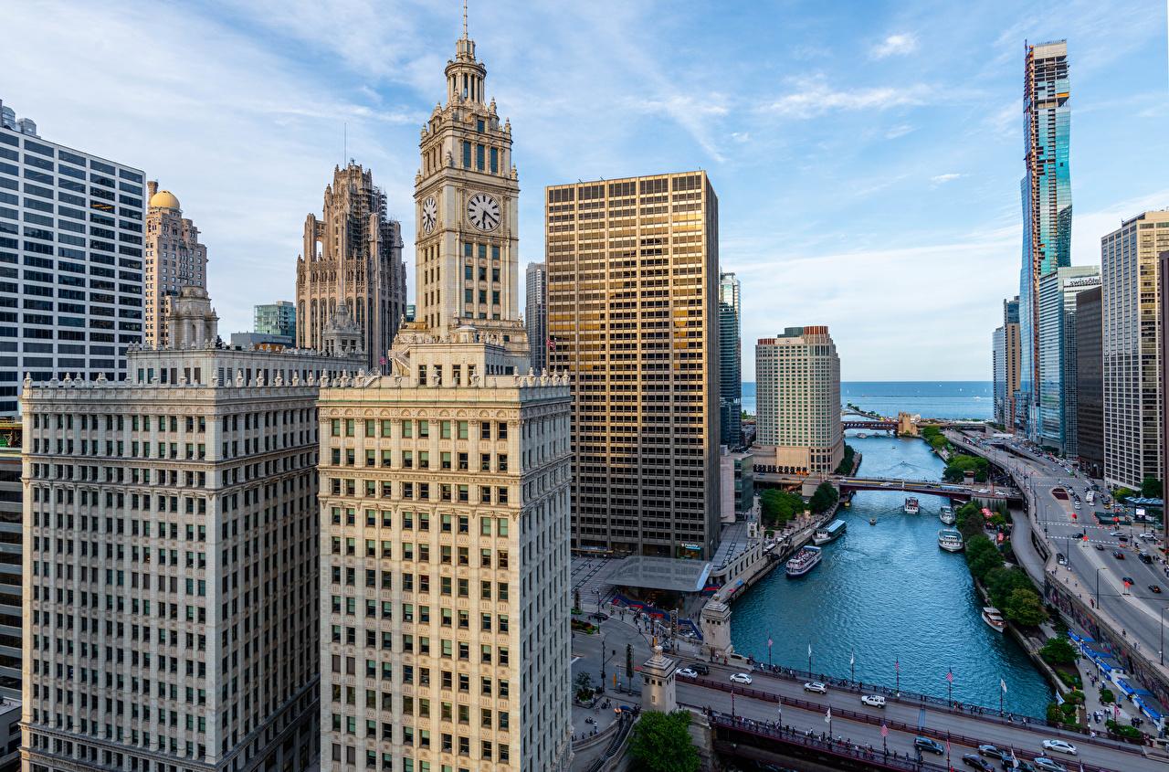 Обои для рабочего стола Чикаго город штаты Небоскребы Дома город США америка Здания Города