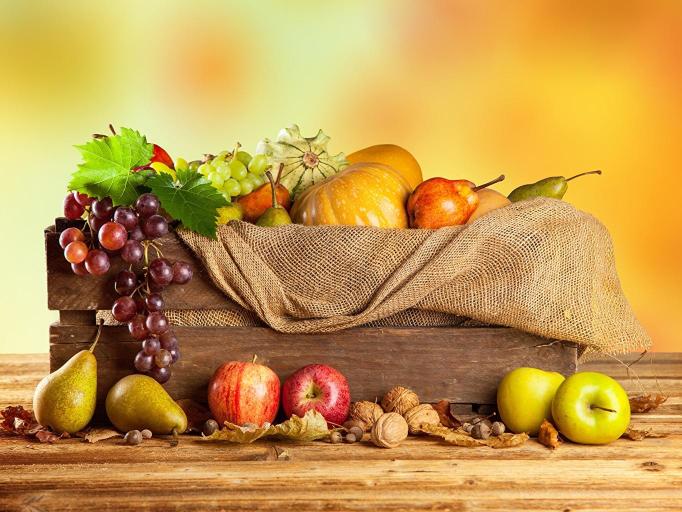 Обои для рабочего стола Тыква Груши Яблоки Виноград Овощи Фрукты Продукты питания Еда Пища