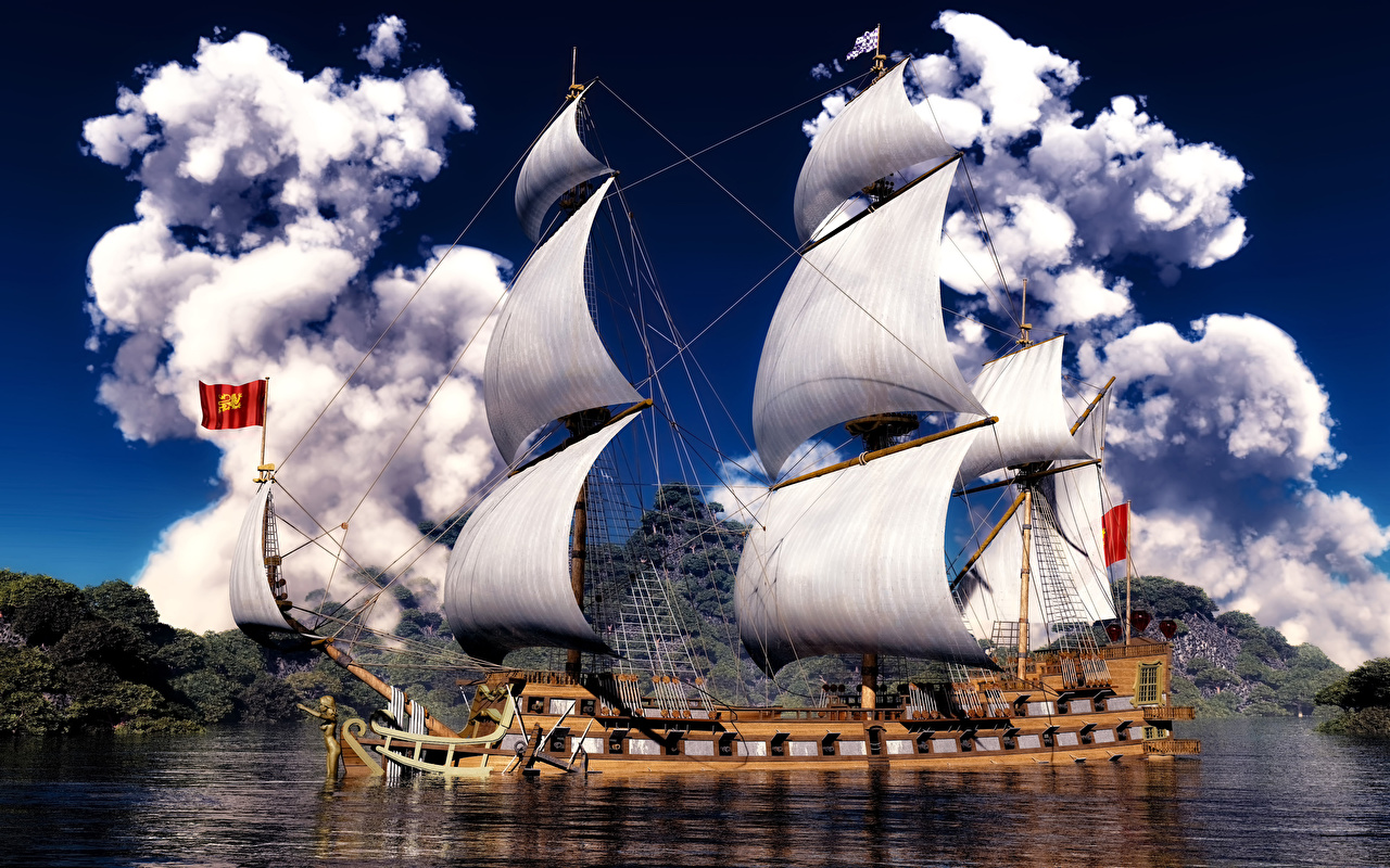 Фотография 3д корабль Парусные облачно 3D Графика Корабли Облака облако