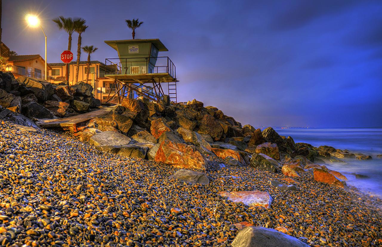 Обои для рабочего стола калифорнии штаты Oceanside HDR Природа пальма Вечер берег Камень Уличные фонари Калифорния США америка HDRI пальм Пальмы Камни Побережье