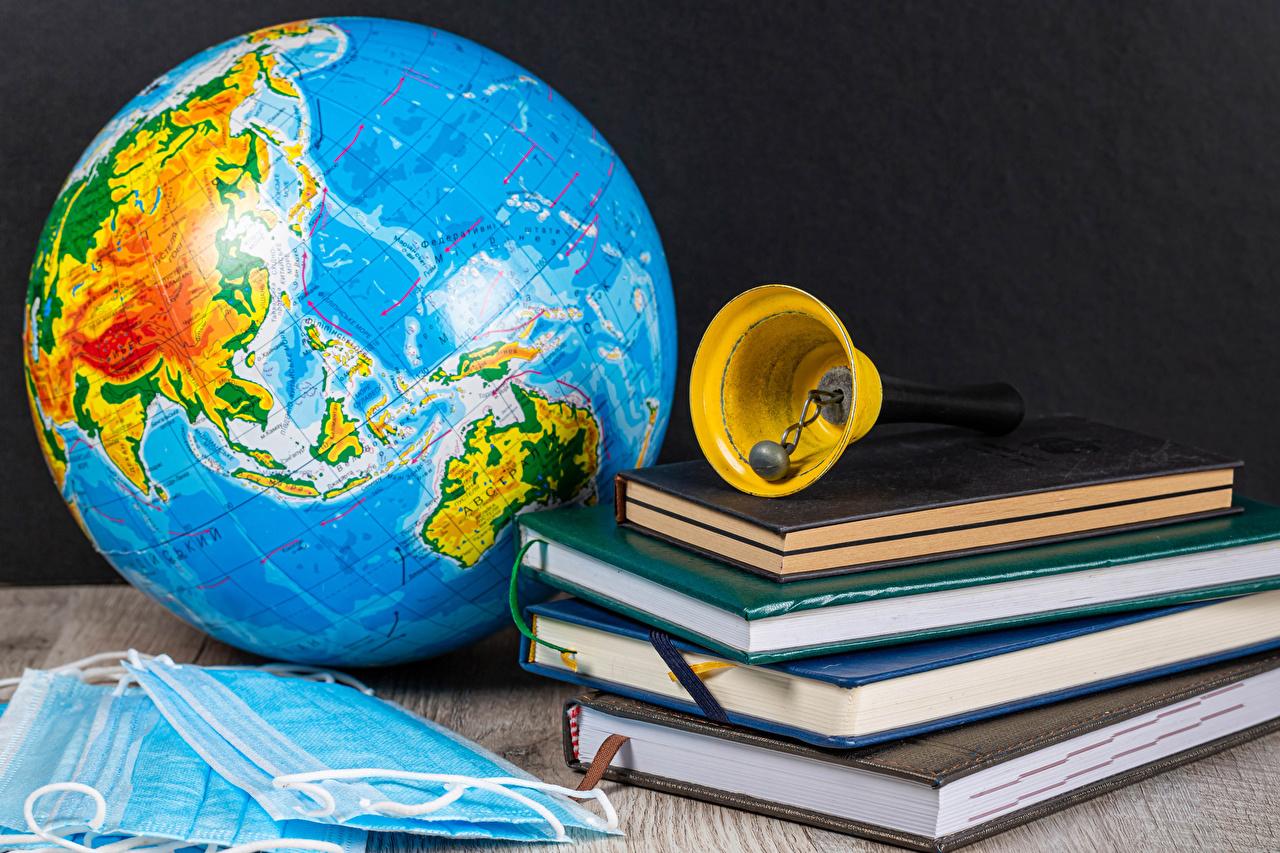 Картинка Коронавирус глобусы Маски книги колокольчик Глобус глобусом Книга Колокольчики
