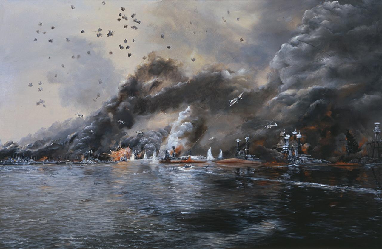 Обои для рабочего стола Война Battleship Row in Flames, John Hamilton Корабли Рисованные Армия корабль военные