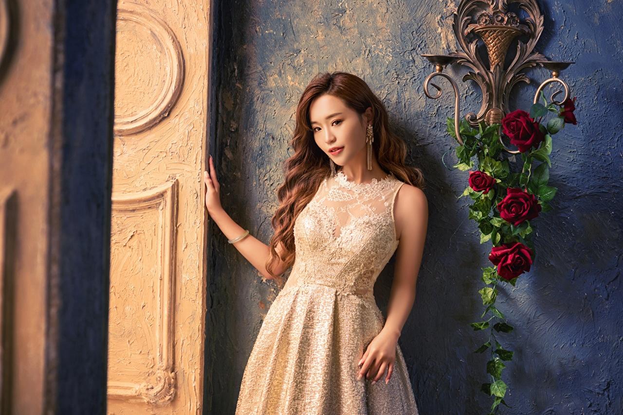 Фото Шатенка роза молодая женщина Азиаты Руки Взгляд платья шатенки Розы девушка Девушки молодые женщины азиатки азиатка рука смотрит смотрят Платье