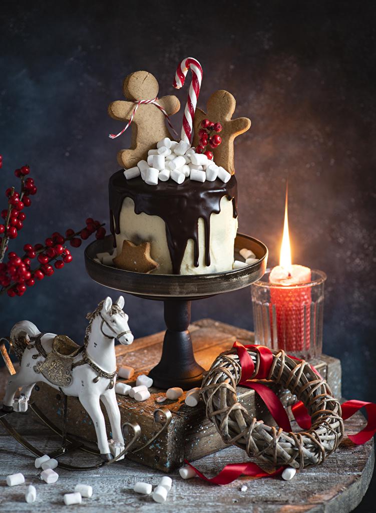 Обои для рабочего стола Лошади Рождество Шоколад Торты Маршмэллоу Еда Свечи Печенье  для мобильного телефона лошадь Новый год зефирки Пища Продукты питания
