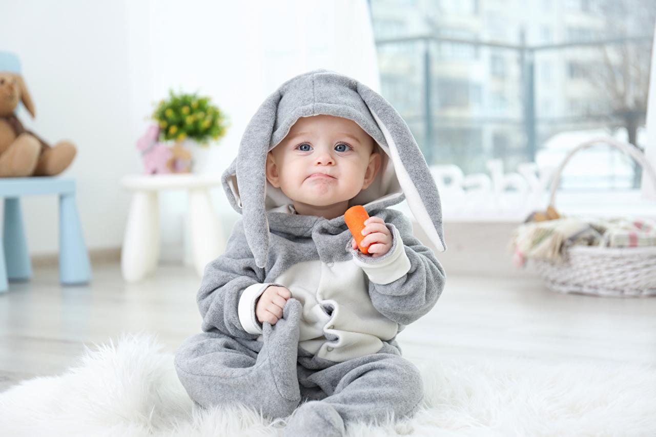 Картинка Пасха кролик Младенцы ребёнок морковка униформе Взгляд Праздники Кролики младенец младенца грудной ребёнок Дети Морковь Униформа смотрит смотрят