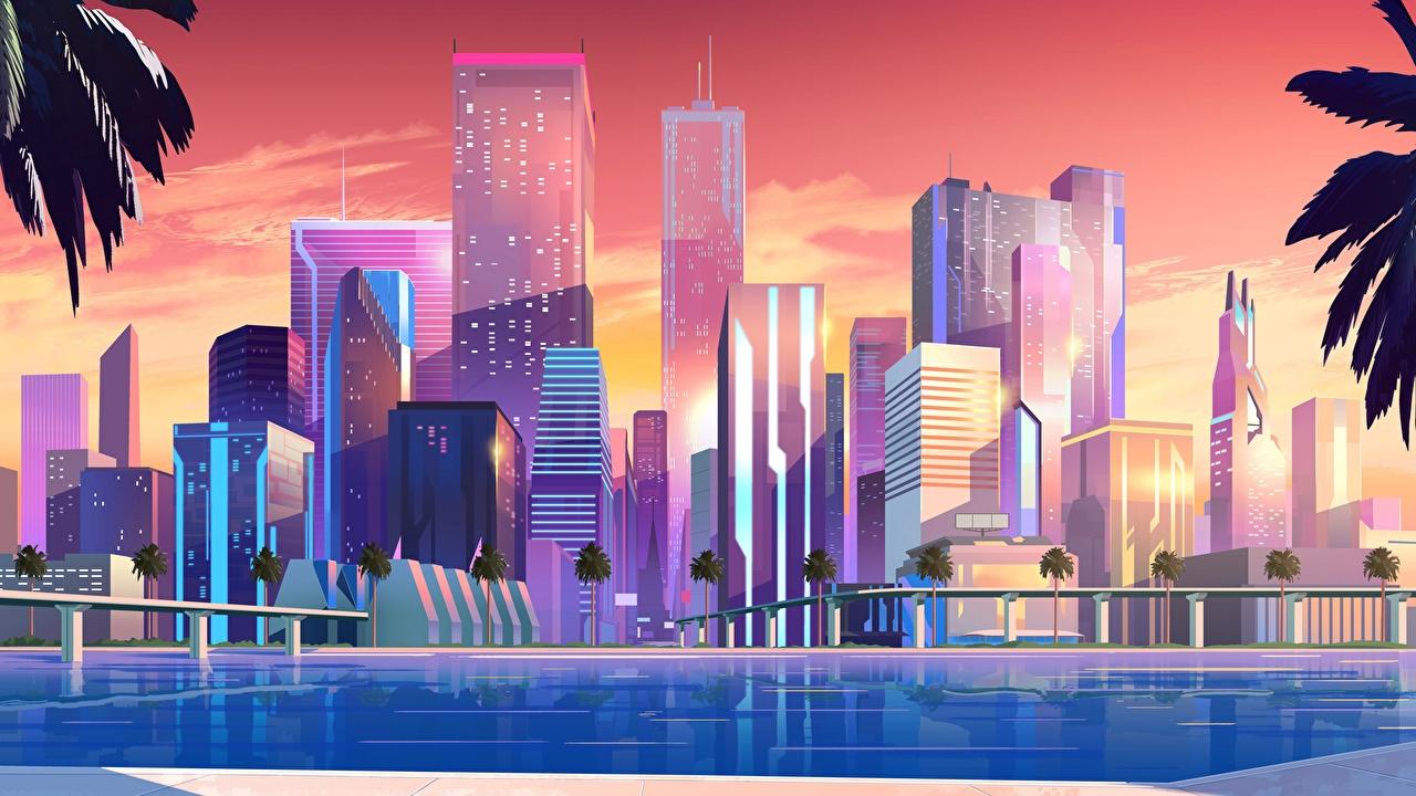 Картинка Ретровейв Небоскребы Дома город Синтвейв Города Здания